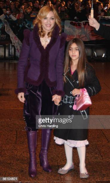 Singer Madonna and daughter Lourdes arrive at the World Premiere of 'Harry Potter And The Goblet Of Fire' at the Odeon Leicester Square on November 6...