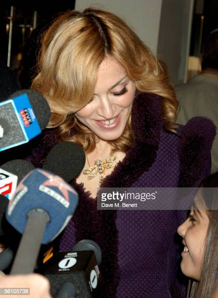 Singer Madonna and her daughter Lourdes are interviewed as they arrive at the World Premiere of Harry Potter And The Goblet Of Fire at the Odeon...
