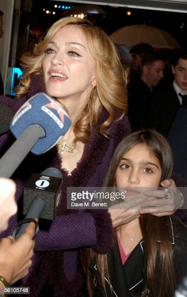 Singer Madonna and her daughter Lourdes are interviewed as they arrive at the World Premiere of 'Harry Potter And The Goblet Of Fire' at the Odeon...