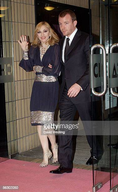 """Singer Madonna and her husband, driector Guy Richie, leave the Chelsea Cinema at a screening to promote her Channel 4 documentary """"I'm Going To Tell..."""