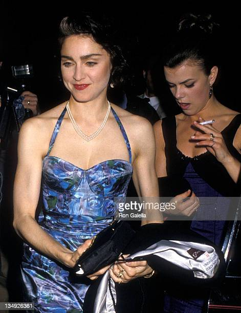 Singer Madonna and makeup artist Debi Mazar attend the 'SpeedthePlow' Broadway Play Opening Night Performance on May 3 1988 at the Royale Theatre in...