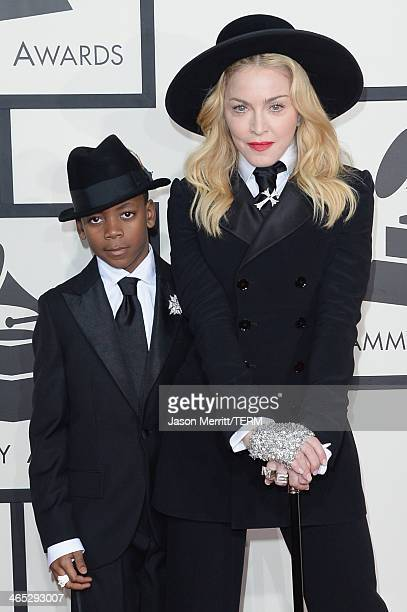 Singer Madonna and son David Banda Mwale Ciccone Ritchie attend the 56th GRAMMY Awards at Staples Center on January 26 2014 in Los Angeles California