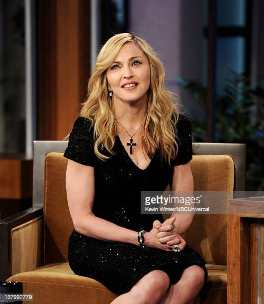 Singer Madonna appears on the Tonight Show With Jay Leno at NBC Studios on January 30 2012 in Burbank California
