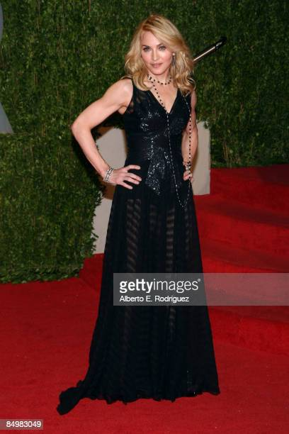 Singer Madonna arrives at the 2009 Vanity Fair Oscar Party hosted by Graydon Carter held at the Sunset Tower on February 22 2009 in West Hollywood...