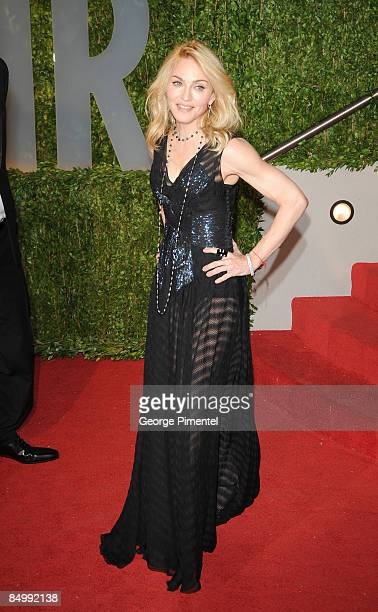 Singer Madonna arrives at the 2009 Vanity Fair Oscar Party Hosted By Graydon Carter at the Sunset Tower on February 22 2009 in West Hollywood...