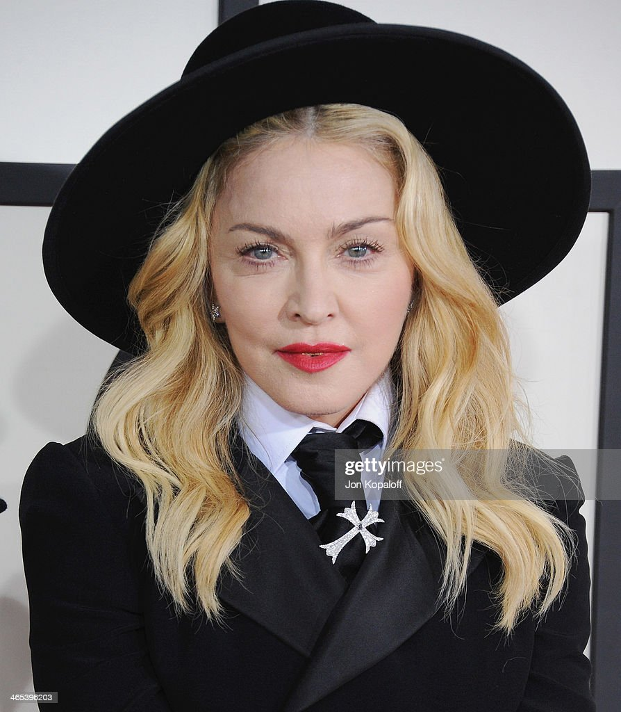 Singer Madonna arrives at the 56th GRAMMY Awards at Staples Center on January 26, 2014 in Los Angeles, California.