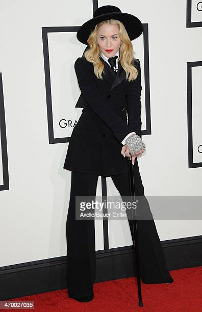 Singer Madonna arrives at the 56th GRAMMY Awards at Staples Center on January 26 2014 in Los Angeles California