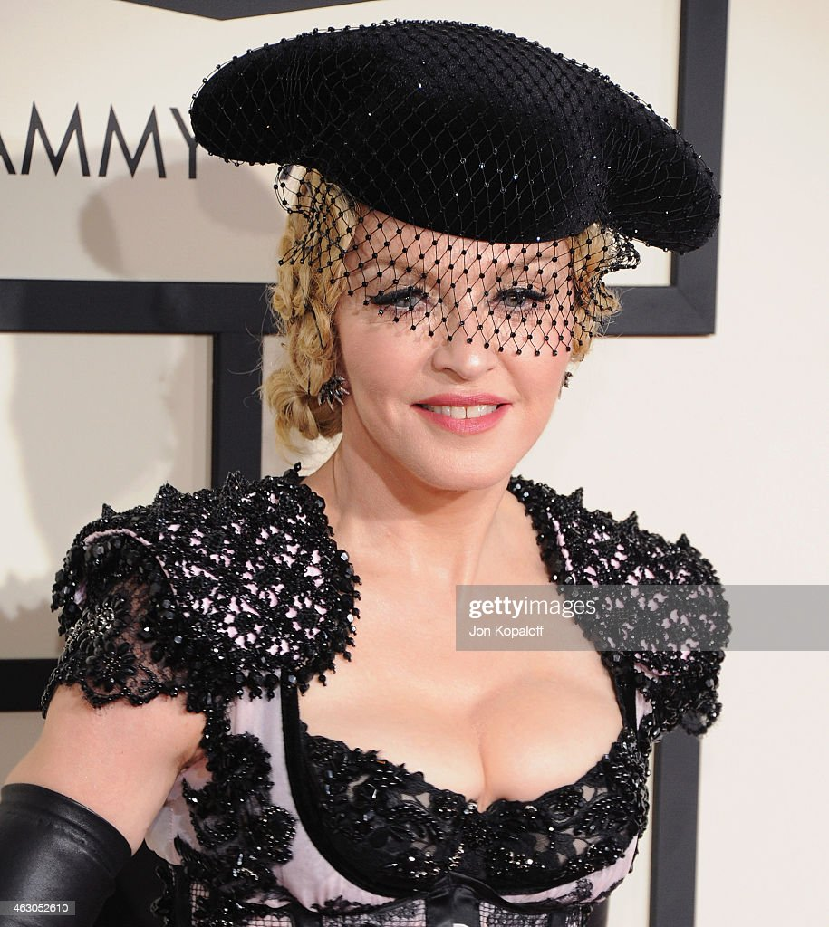 Singer Madonna arrives at the 57th GRAMMY Awards at Staples Center on February 8, 2015 in Los Angeles, California.