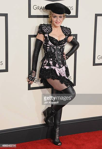 Singer Madonna arrives at the 57th GRAMMY Awards at Staples Center on February 8 2015 in Los Angeles California
