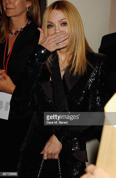 Singer Madonna arrives at the UK Premiere for 'Revolver' at the Odeon Leicester Square on September 20 2005 in London England