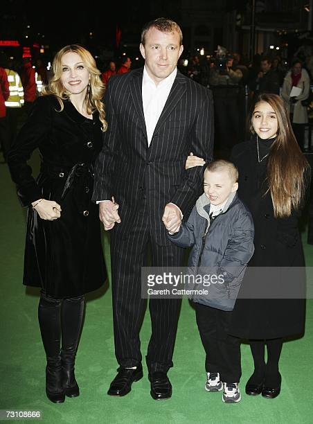 Singer Madonna arrives with her husband Guy Ritchie and children Rocco and Lourdes at the UK Premiere of Arthur And The Invisibles at the Vue West...