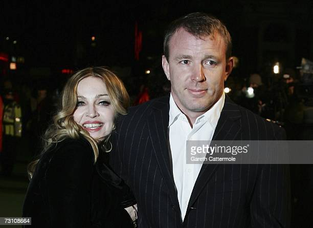 Singer Madonna arrives with her husband Guy Ritchie at the UK Premiere of 'Arthur And The Invisibles' at the Vue West End Cinema Leicester Square on...