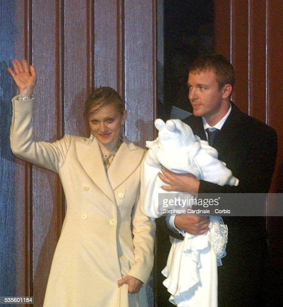 Singer Madonna at the christening of her son at Dornoch Cathedral