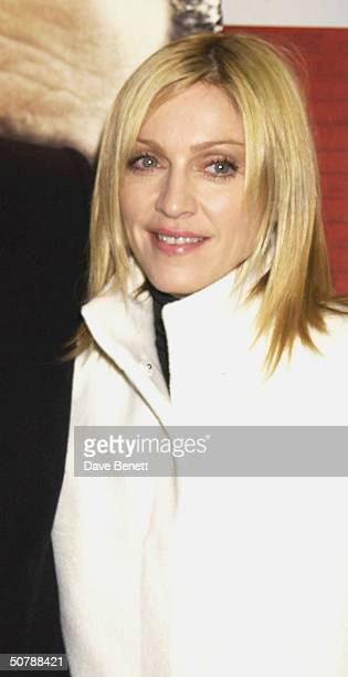 Singer Madonna at the UK film premiere of 'Mean Machine' held at the Odeon Cinema Kensington on 18th December 2001 in London