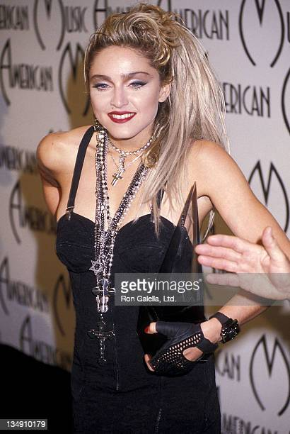 Singer Madonna attends the 12th Annual American Music Awards on January 28 1985 at the Shrine Auditorium in Los Angeles California