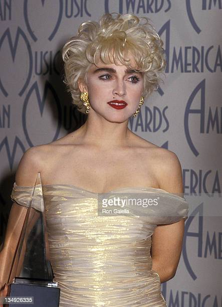 Singer Madonna attends the 14th Annual American Music Awards on January 26 1987 at the Shrine Auditorium in Los Angeles California