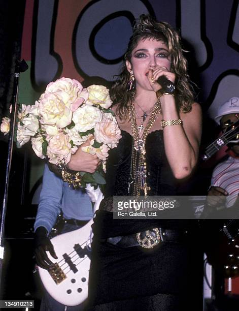 Singer Madonna attends the After Party for the Closing Night Concert of the Virgin Tour on June 11 1985 at the Palladium in New York City