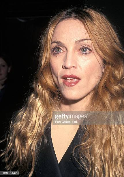 Singer Madonna attends the Artemisia New York City Premiere on April 28 1998 at City Cinemas Cinema 2 in New York City
