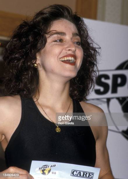 Singer Madonna attends the Press Conference for 'Sport Aid '88 The Race Against Time' Global Charity Race on August 8 1988 at the Helmsley Palace...