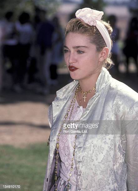 Singer Madonna attends the PROPeace Public Service Announcement for the Great Peace March for Global Nuclear Disarmament on October 5 1985 at Woodley...