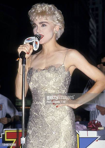 Singer Madonna attends the Who's That Girl New York City Premiere on August 6 1987 at the National Theatre in New York City
