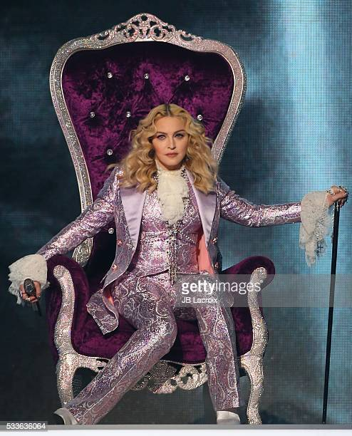 Singer Madonna is seen on stage during the 2016 Billboard Music Awards held at the TMobile Arena on May 22 2016 in Las Vegas Nevada