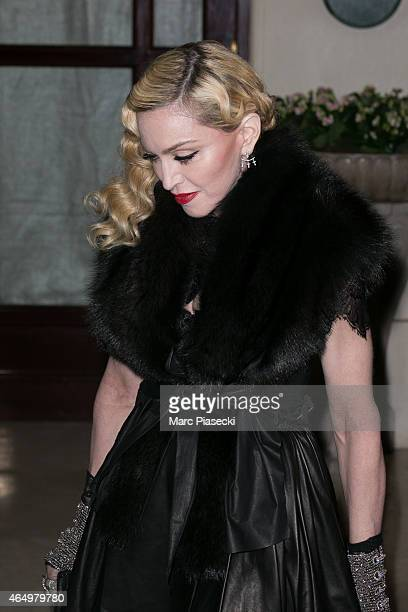 Singer Madonna leaves her hotel on March 2 2015 in Paris France