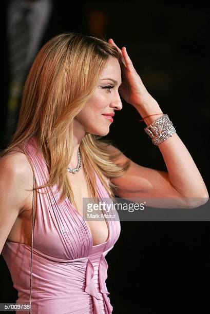 Singer Madonna leaves the Vanity Fair Oscar Party at Mortons on March 5 2006 in West Hollywood California