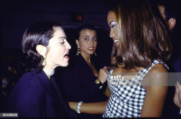Singer Madonna model Naomi Campbell at Campbell's birthday party 22nd May 1991