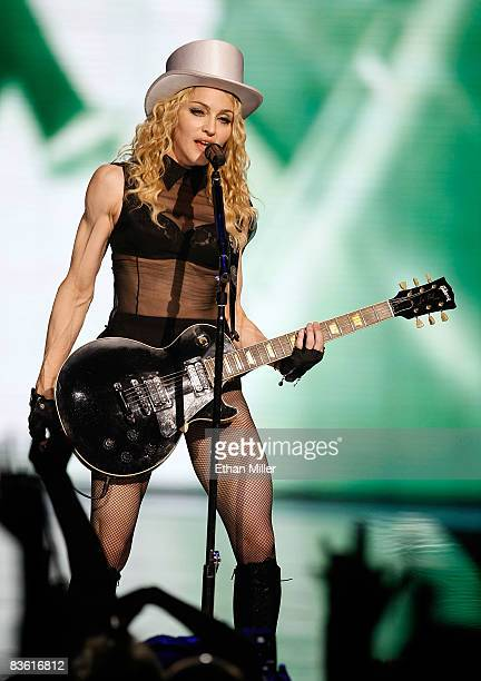 Singer Madonna performs at the MGM Grand Garden Arena November 8, 2008 in Las Vegas, Nevada. Madonna's Sticky & Sweet Tour is in support of her...