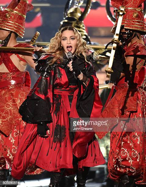 Singer Madonna performs during her 'Rebel Heart' tour at Bridgestone Arena on January 18 2016 in Nashville Tennessee