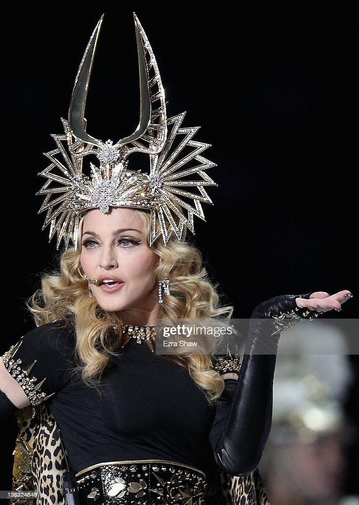 Singer Madonna performs during the Bridgestone Super Bowl XLVI Halftime Show at Lucas Oil Stadium on February 5, 2012 in Indianapolis, Indiana.