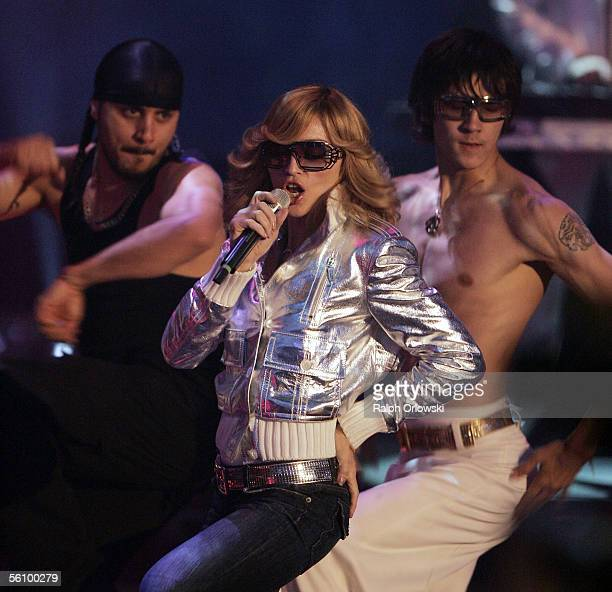S singer Madonna performs during the live broadcast of 'Wetten dass' on ZDF television at the Maimarkthalle November 5 2005 in Mannheim Germany