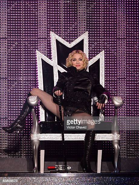 Singer Madonna performs during the Sticky Sweet tour at Foro Sol on November 29 2008 in Mexico City