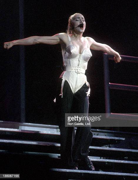 Singer Madonna performs in concert on May 11 1990 at the Los Angeles Memorial Sports Arena in Los Angeles California