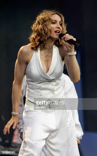 Singer Madonna performs on stage at 'Live 8 London' in Hyde Park on July 2 2005 in London England The free concert is one of ten simultaneous...