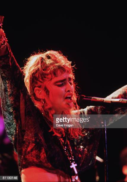 Singer Madonna performs on stage at Madison Square Gardens on the 'Like A Virgin' tour in New York