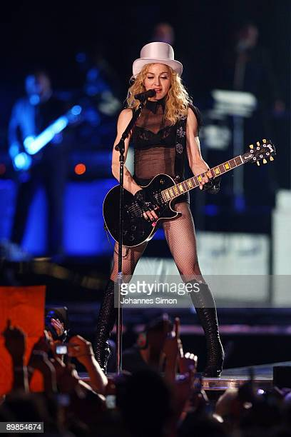 Singer Madonna performs on stage at Olympic Stadium on August 18 2009 in Munich Germany