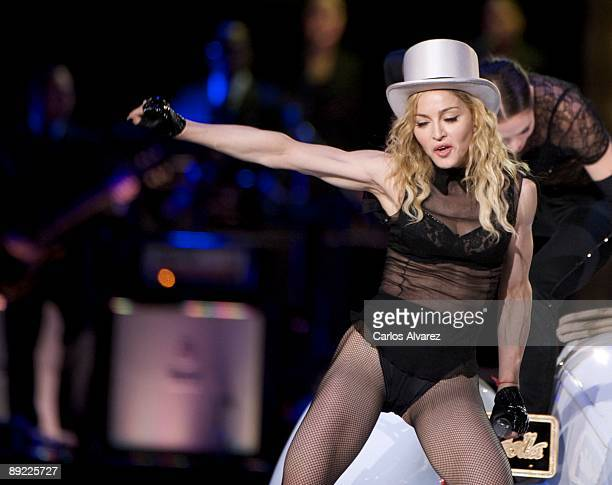 Singer Madonna performs on stage at Vicente Calderon Stadium on July 23 2009 in Madrid Spain