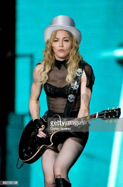 Singer Madonna performs on stage at Vicente Calderon Stadium on July 23, 2009 in Madrid, Spain.