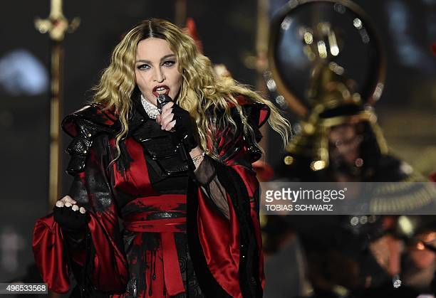 "Singer Madonna performs on stage during her ""Rebel Heart"" tour in Berlin, on November 10, 2015. AFP PHOTO / TOBIAS SCHWARZ"
