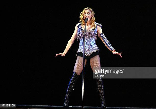 Singer Madonna performs on stage during the first London date of the UK leg of her ReInvention World Tour 2004 at Earls Court August 18 2004 in London