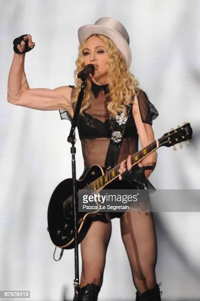 Singer Madonna performs on stage on September 20 2008 at the Stade de France stadium in Paris France