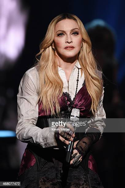 Singer Madonna performs onstage during the 2015 iHeartRadio Music Awards which broadcasted live on NBC from The Shrine Auditorium on March 29 2015 in...