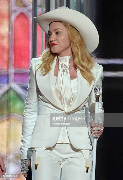 Singer Madonna performs onstage during the 56th GRAMMY Awards at Staples Center on January 26 2014 in Los Angeles California