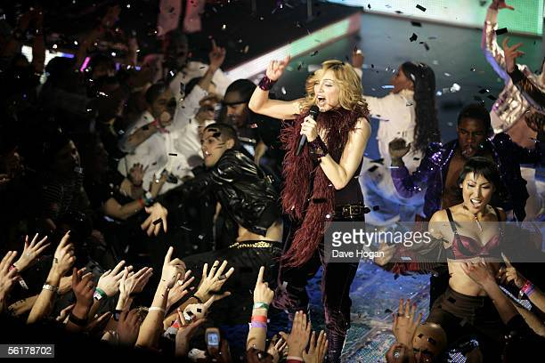 Singer Madonna performs to celebrate today's release of her new album 'Confessions On A Dancefloor' at Koko Camden on November 15 2005 in London...