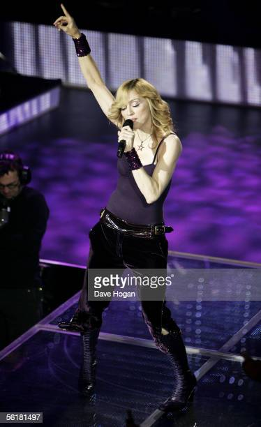 Singer Madonna performs to celebrate today's release of her new album 'Confessions On A Dance Floor' at Koko Camden on November 15 2005 in London...