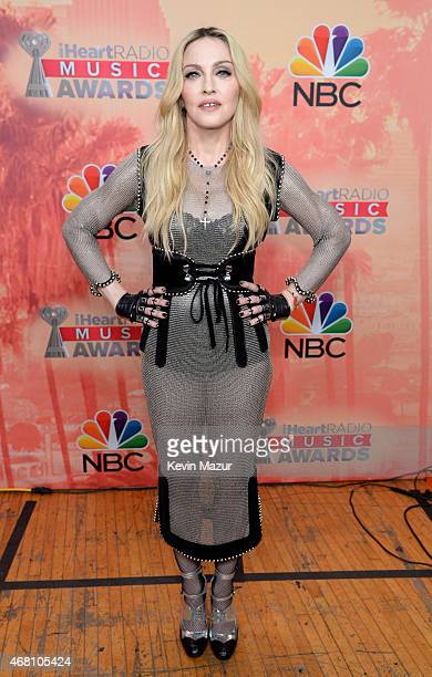 Singer Madonna poses backstage at the 2015 iHeartRadio Music Awards which broadcasted live on NBC from The Shrine Auditorium on March 29 2015 in Los...