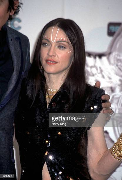 Singer Madonna poses for the press at the MTV Music Awards September 10 1998 at the Universal Amphitheater in Los Angeles CA