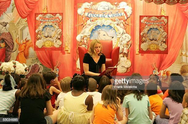Singer Madonna reads her latest children's book 'Lotsa de Casha' to children from Public School 191 at Borders Bookstore June 7 2005 in New York City...